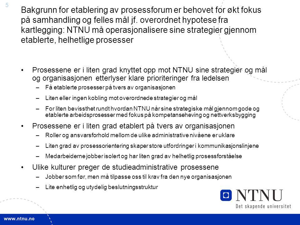 Bakgrunn for etablering av prosessforum er behovet for økt fokus på samhandling og felles mål jf. overordnet hypotese fra kartlegging: NTNU må operasjonalisere sine strategier gjennom etablerte, helhetlige prosesser