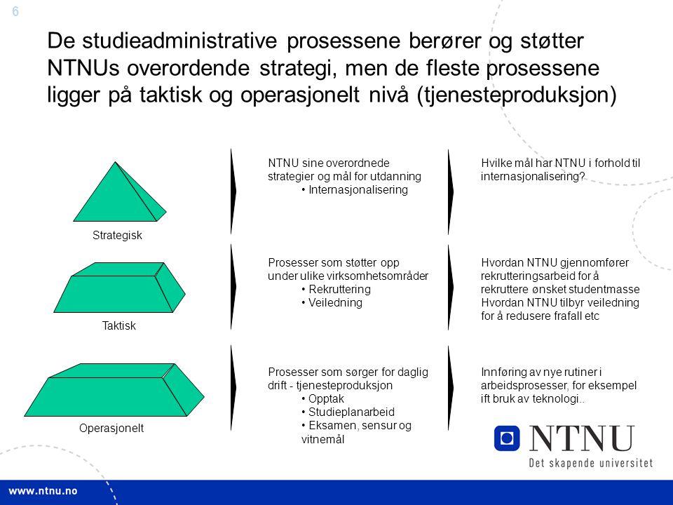 De studieadministrative prosessene berører og støtter NTNUs overordende strategi, men de fleste prosessene ligger på taktisk og operasjonelt nivå (tjenesteproduksjon)