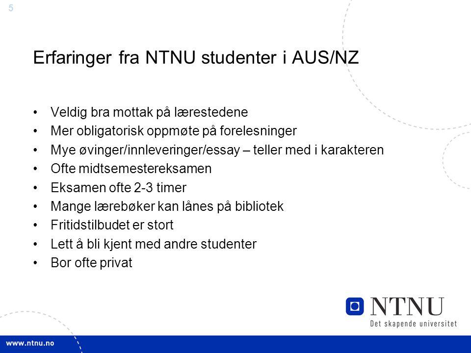 Erfaringer fra NTNU studenter i AUS/NZ