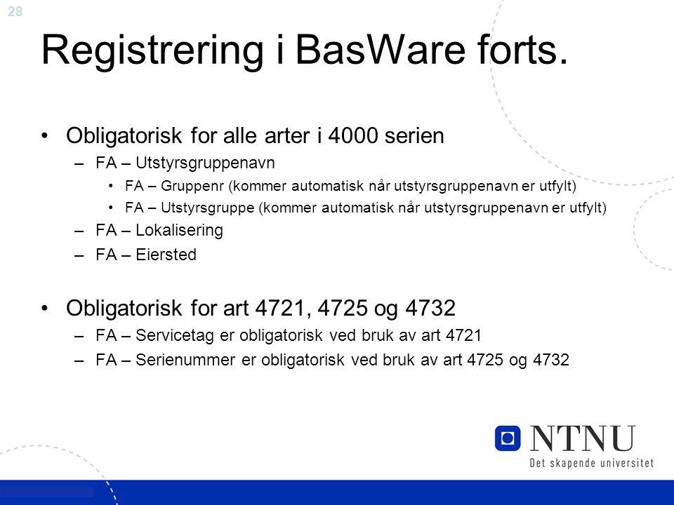Registrering i BasWare forts.