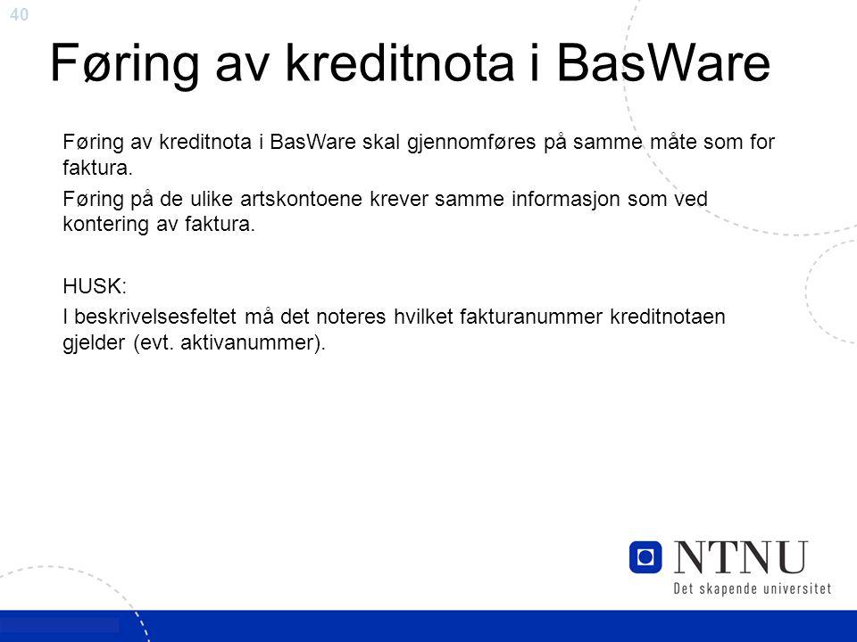 Føring av kreditnota i BasWare