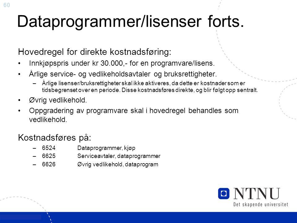 Dataprogrammer/lisenser forts.