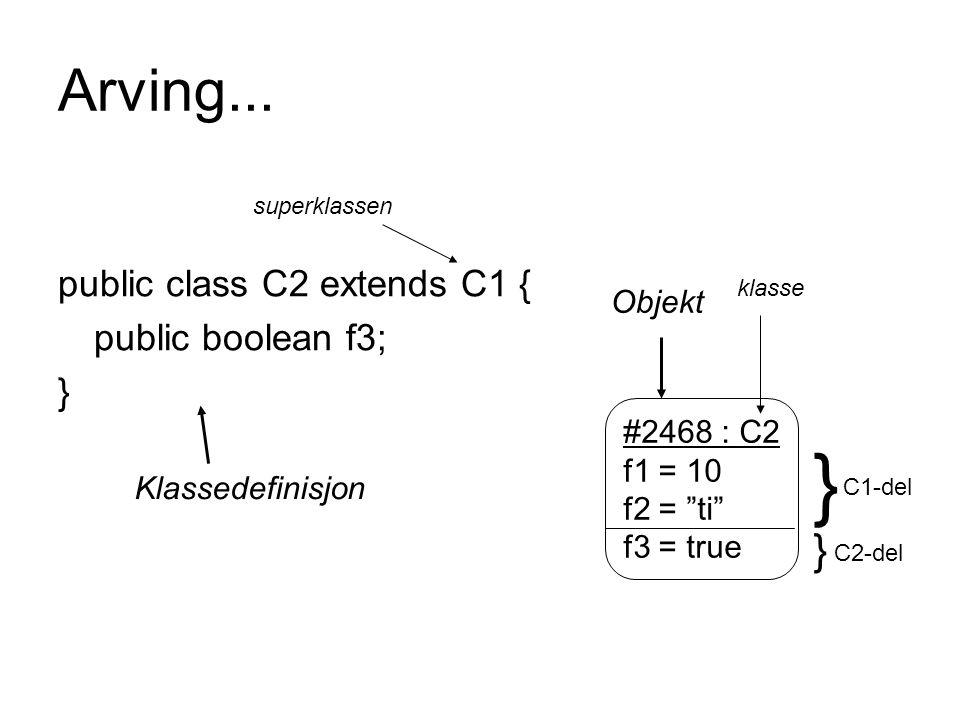 } Arving... } public class C2 extends C1 { public boolean f3; } Objekt
