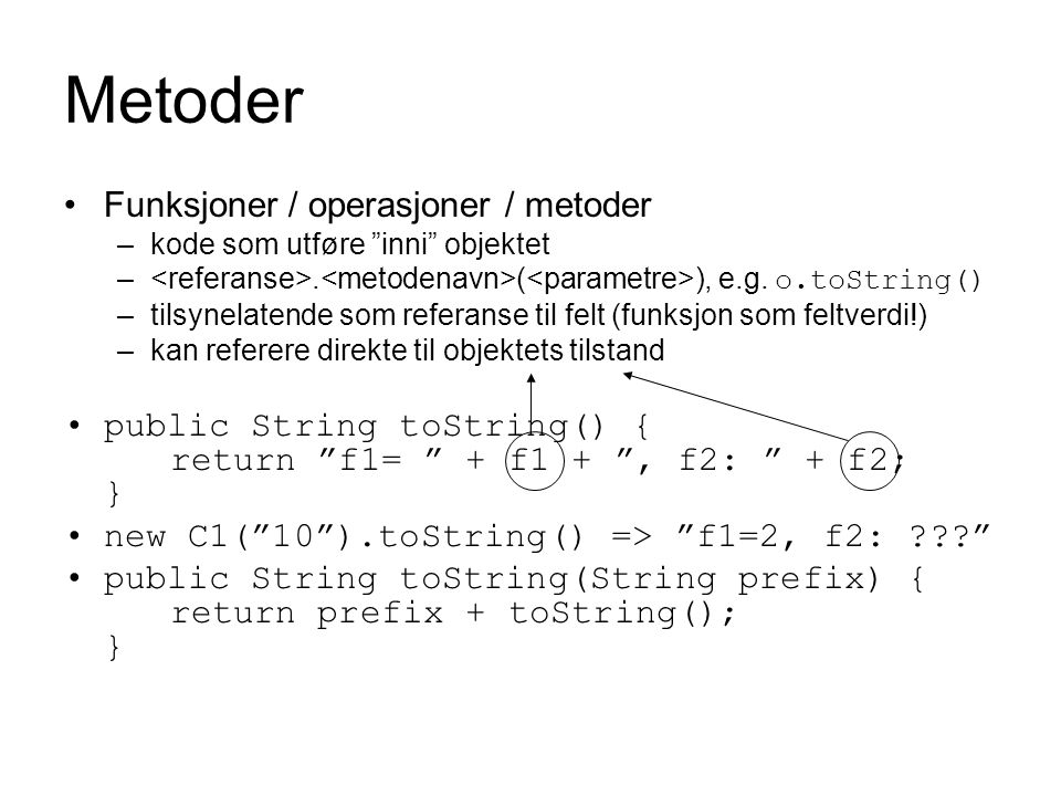 Metoder Funksjoner / operasjoner / metoder