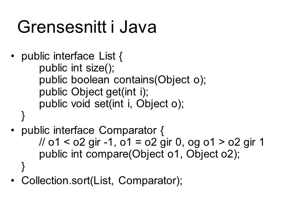 Grensesnitt i Java