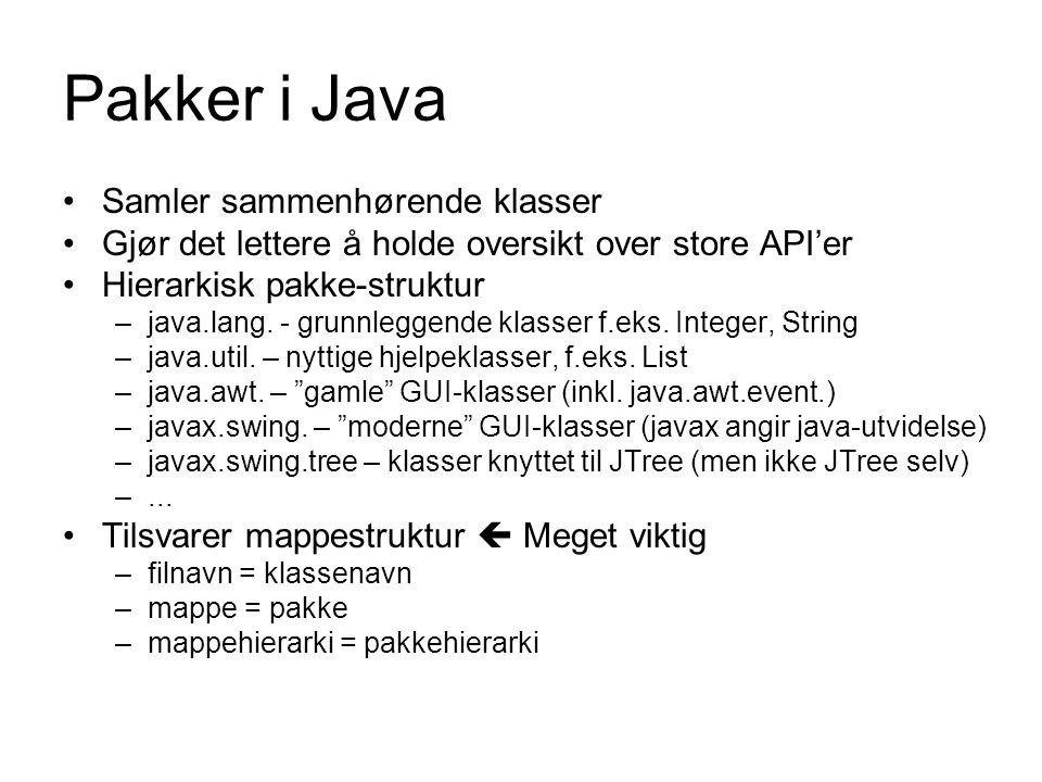 Pakker i Java Samler sammenhørende klasser