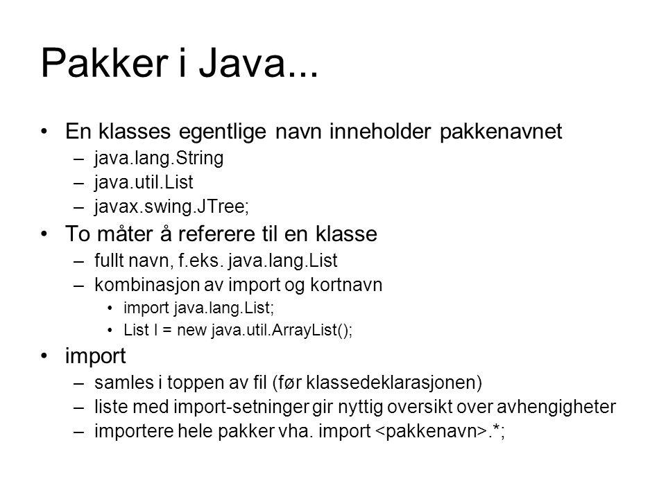 Pakker i Java... En klasses egentlige navn inneholder pakkenavnet