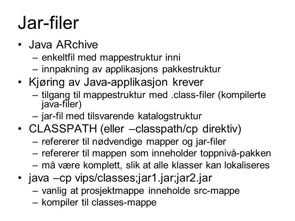 Jar-filer Java ARchive Kjøring av Java-applikasjon krever