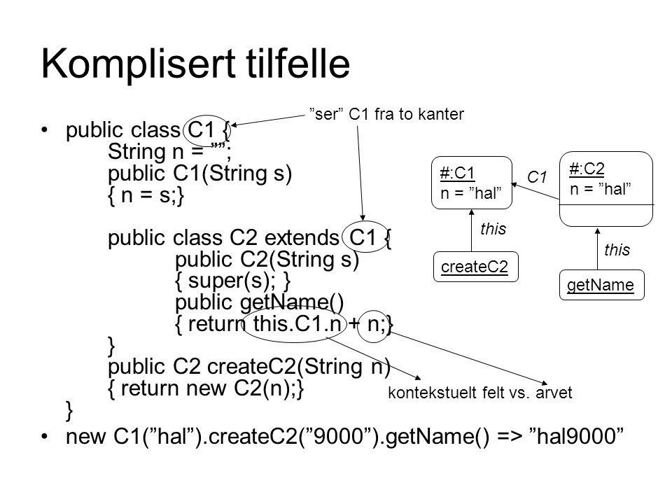 Komplisert tilfelle ser C1 fra to kanter.