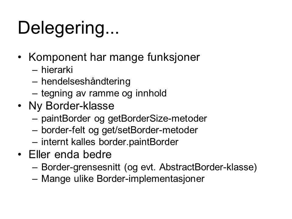 Delegering... Komponent har mange funksjoner Ny Border-klasse