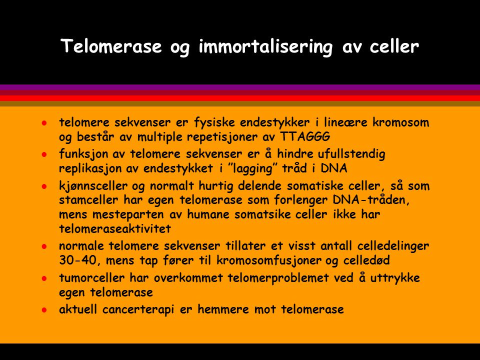 Telomerase og immortalisering av celler