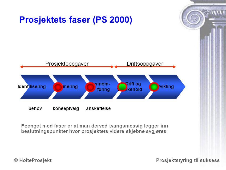Prosjektets faser (PS 2000)