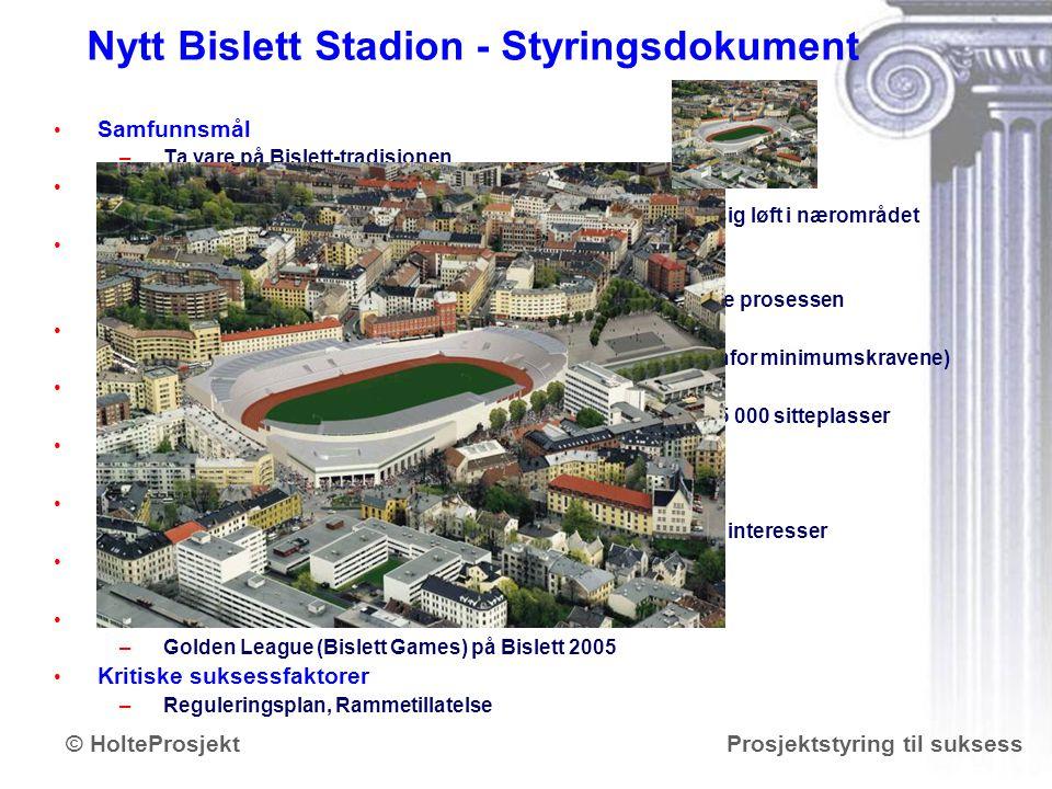 Nytt Bislett Stadion - Styringsdokument