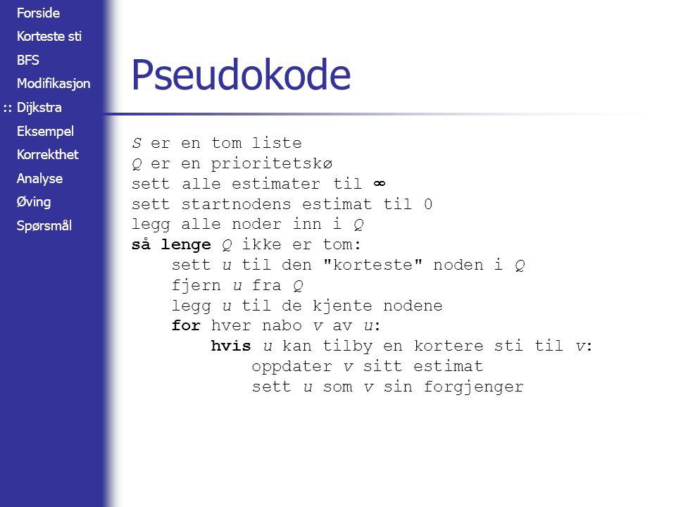 Pseudokode S er en tom liste Q er en prioritetskø