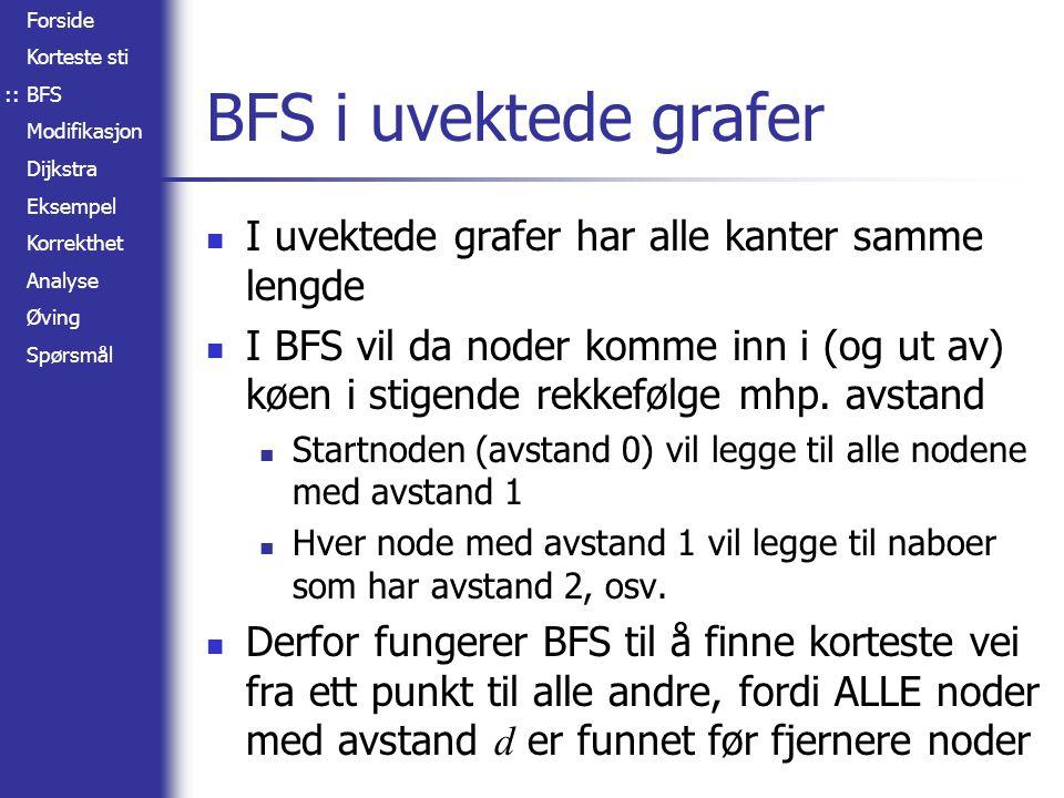 BFS i uvektede grafer I uvektede grafer har alle kanter samme lengde
