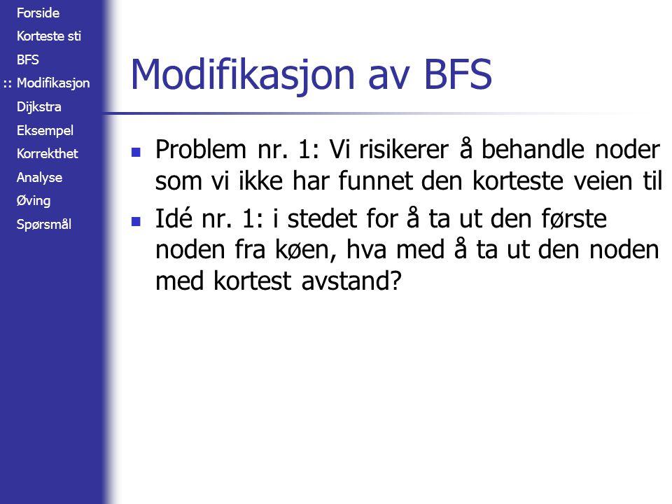 :: Modifikasjon av BFS. Problem nr. 1: Vi risikerer å behandle noder som vi ikke har funnet den korteste veien til.