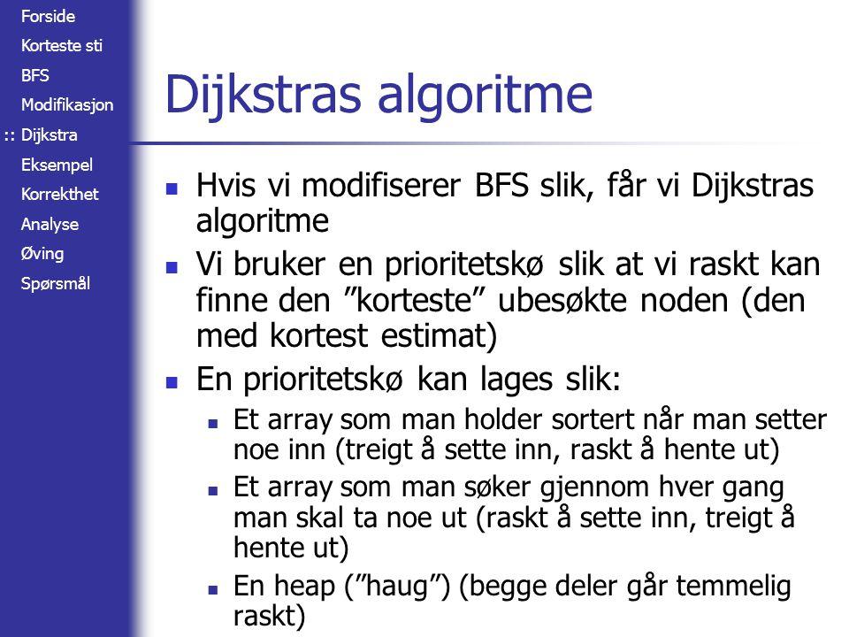 :: Dijkstras algoritme. Hvis vi modifiserer BFS slik, får vi Dijkstras algoritme.