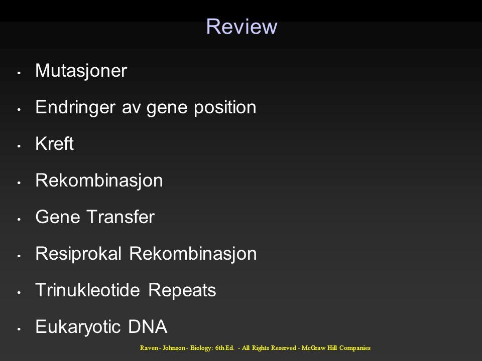 Review Mutasjoner Endringer av gene position Kreft Rekombinasjon