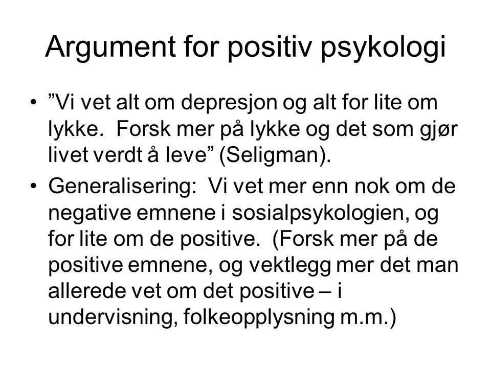Argument for positiv psykologi