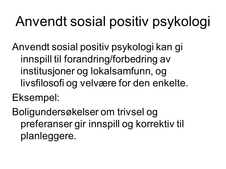 Anvendt sosial positiv psykologi