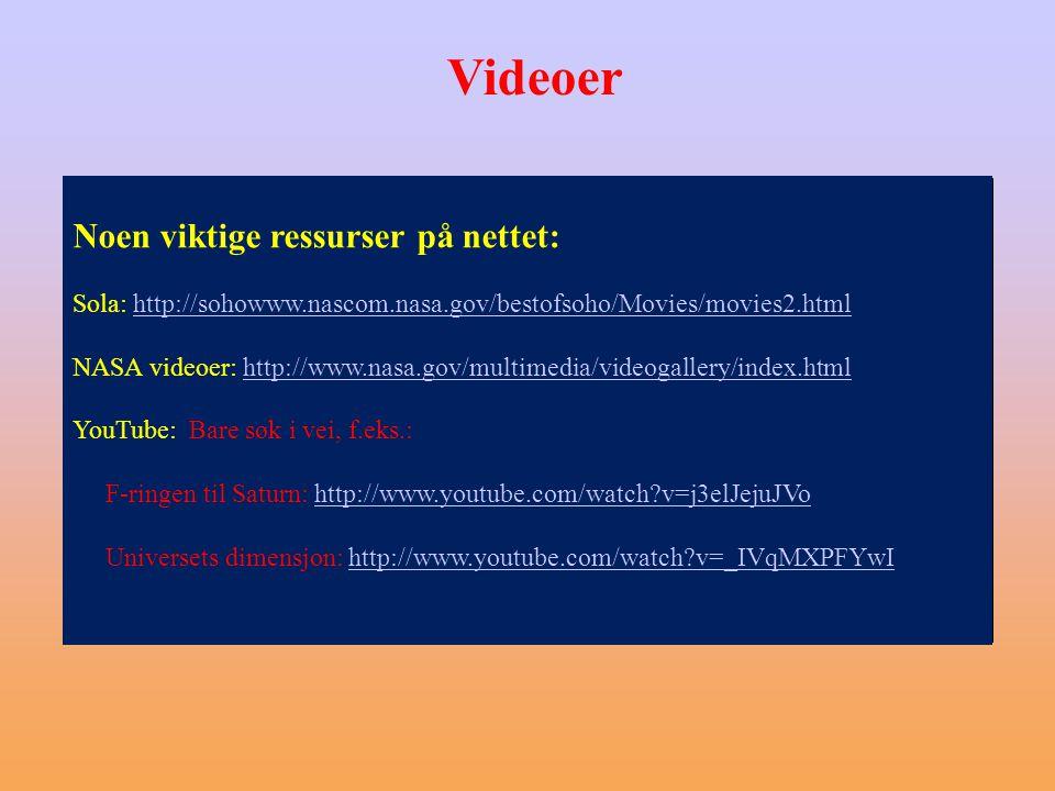 Videoer Noen viktige ressurser på nettet: