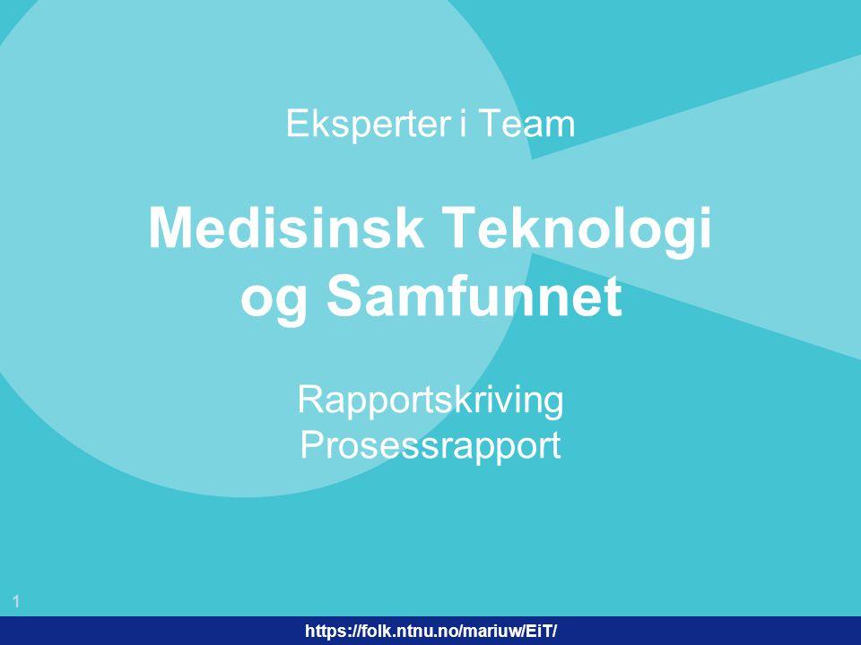 Eksperter i Team Medisinsk Teknologi og Samfunnet Rapportskriving Prosessrapport