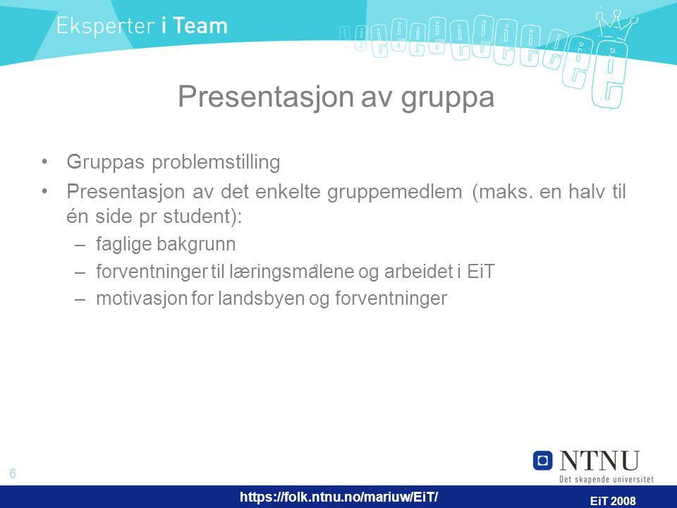 Presentasjon av gruppa