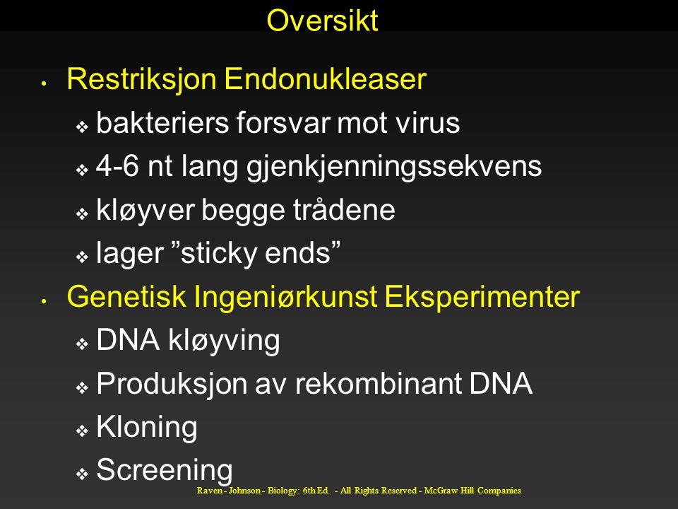 Restriksjon Endonukleaser bakteriers forsvar mot virus
