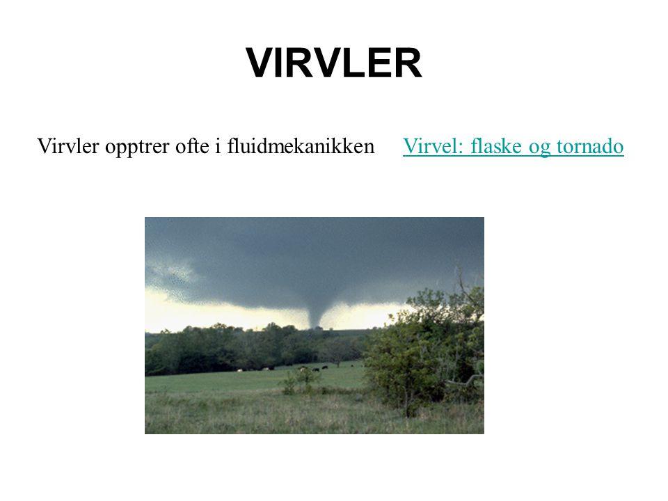 VIRVLER Virvler opptrer ofte i fluidmekanikken