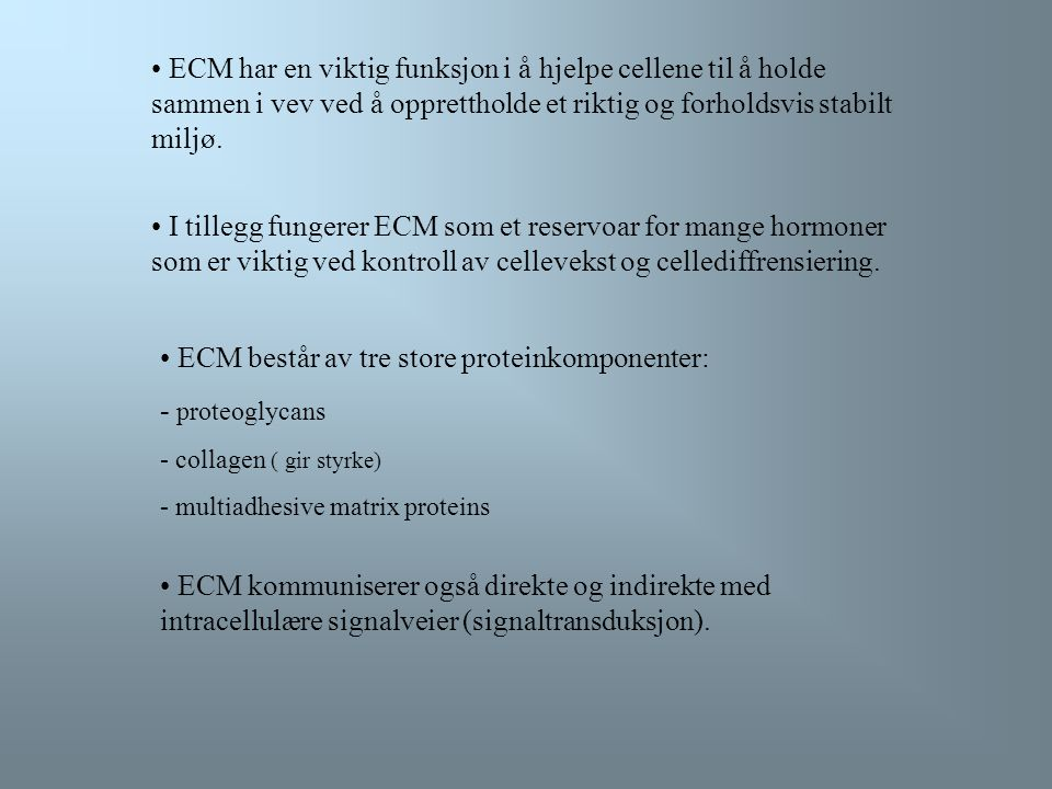 ECM består av tre store proteinkomponenter: - proteoglycans
