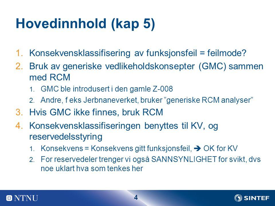 Hovedinnhold (kap 5) Konsekvensklassifisering av funksjonsfeil = feilmode Bruk av generiske vedlikeholdskonsepter (GMC) sammen med RCM.