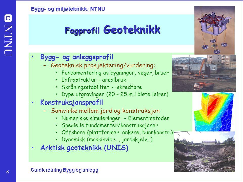 Fagprofil Geoteknikk Bygg- og anleggsprofil Konstruksjonsprofil