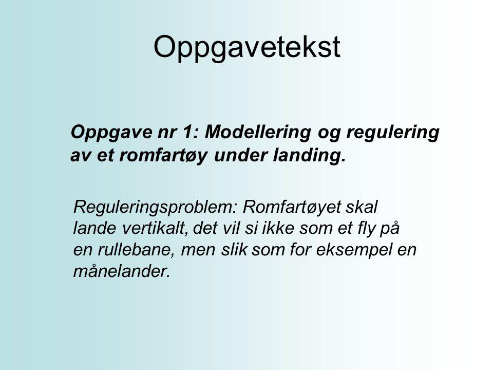 Oppgavetekst Oppgave nr 1: Modellering og regulering av et romfartøy under landing.