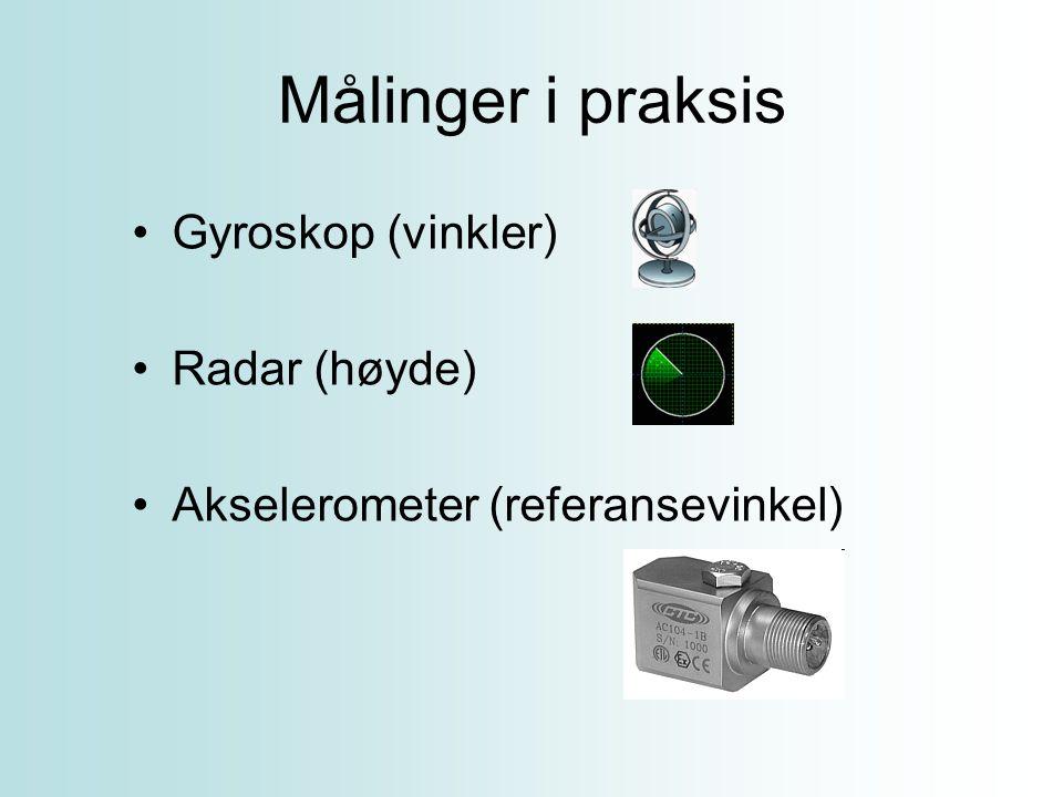 Målinger i praksis Gyroskop (vinkler) Radar (høyde)