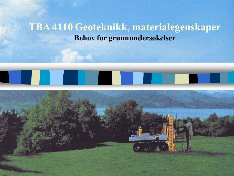 TBA 4110 Geoteknikk, materialegenskaper Behov for grunnundersøkelser