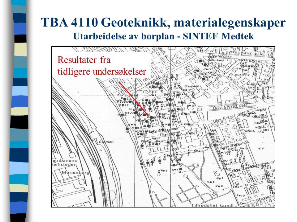 TBA 4110 Geoteknikk, materialegenskaper Utarbeidelse av borplan - SINTEF Medtek