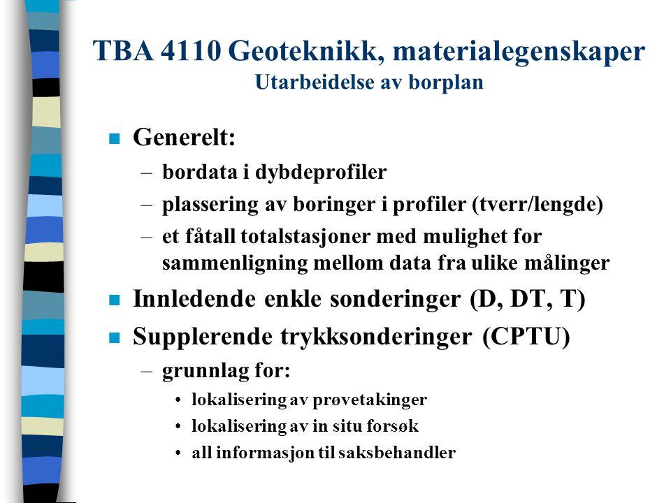 TBA 4110 Geoteknikk, materialegenskaper Utarbeidelse av borplan