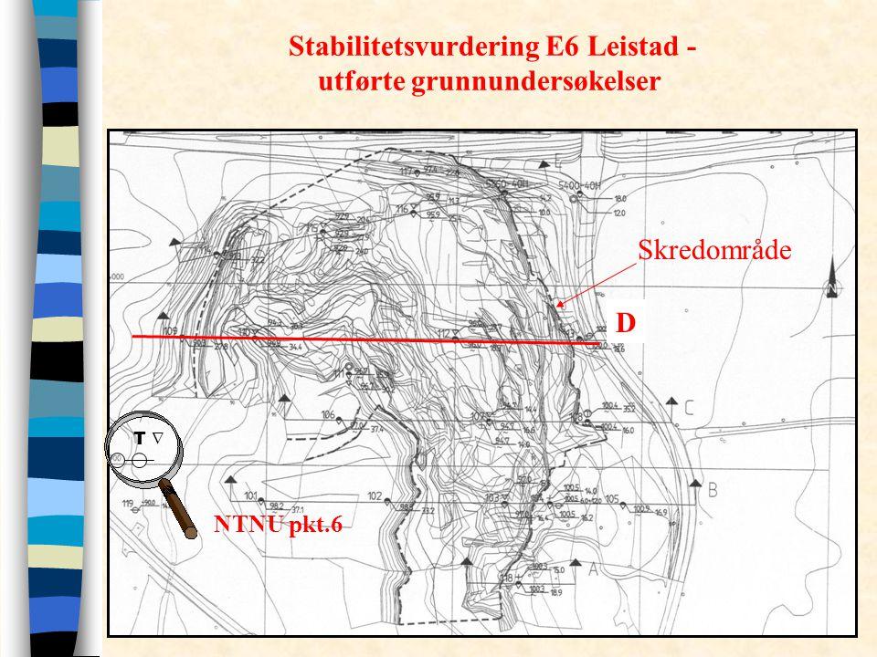 Stabilitetsvurdering E6 Leistad - utførte grunnundersøkelser