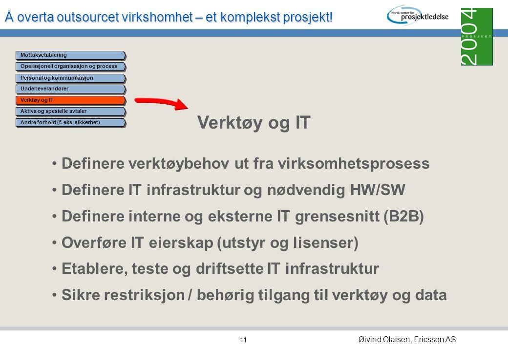 Verktøy og IT Definere verktøybehov ut fra virksomhetsprosess