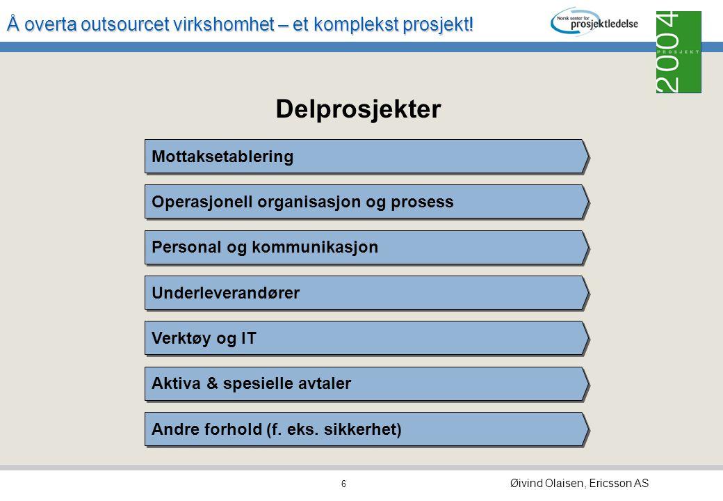 Delprosjekter Mottaksetablering Operasjonell organisasjon og prosess