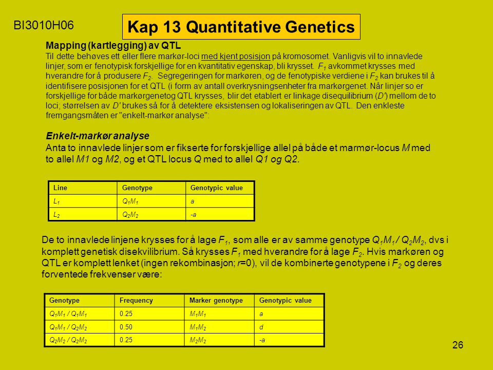 Kap 13 Quantitative Genetics
