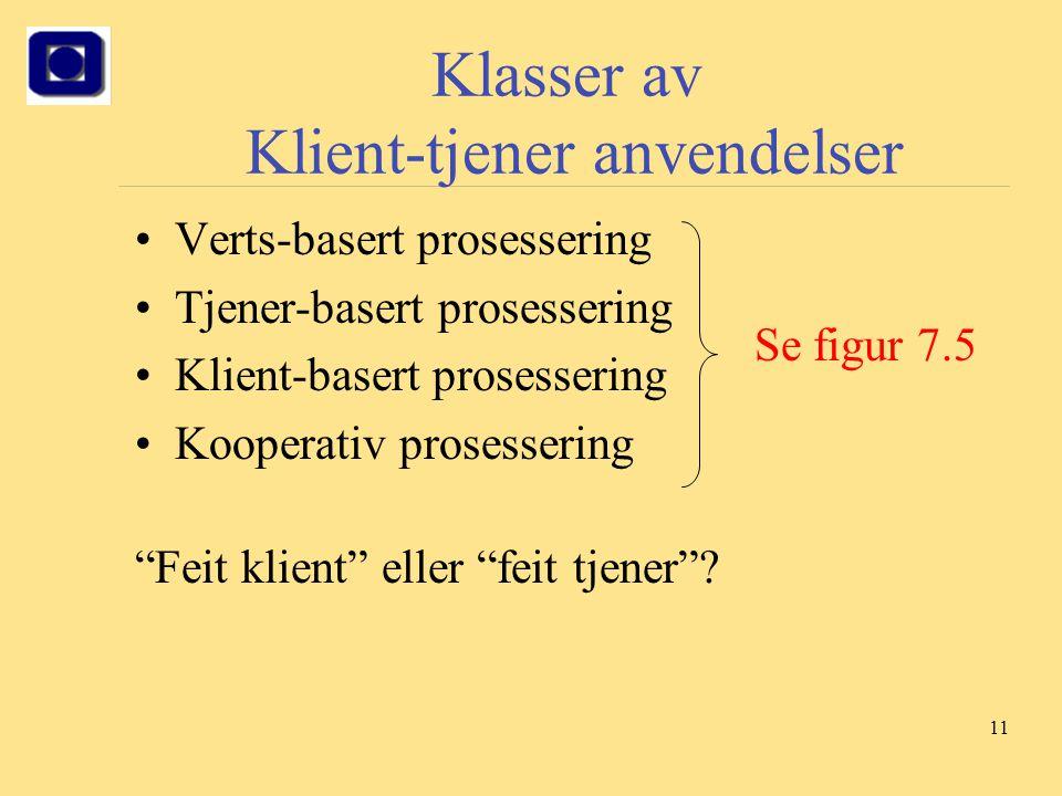 Klasser av Klient-tjener anvendelser