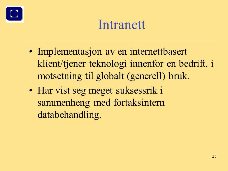 Intranett Implementasjon av en internettbasert klient/tjener teknologi innenfor en bedrift, i motsetning til globalt (generell) bruk.