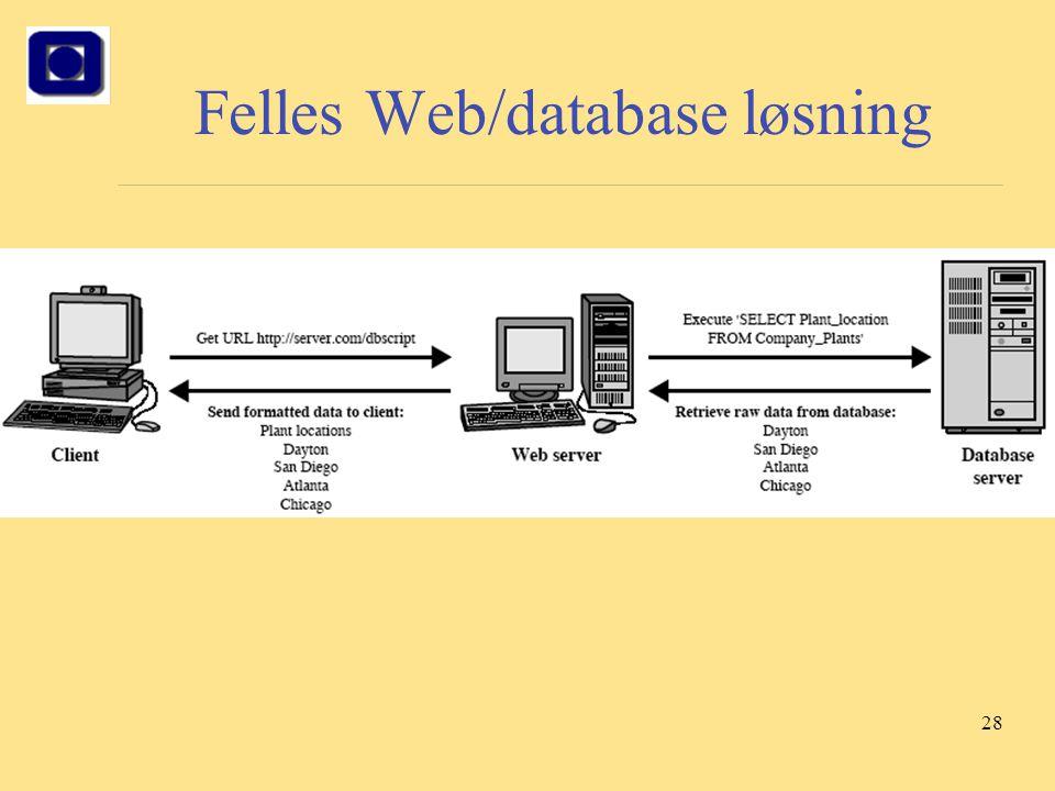 Felles Web/database løsning