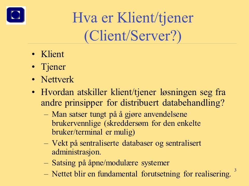 Hva er Klient/tjener (Client/Server )