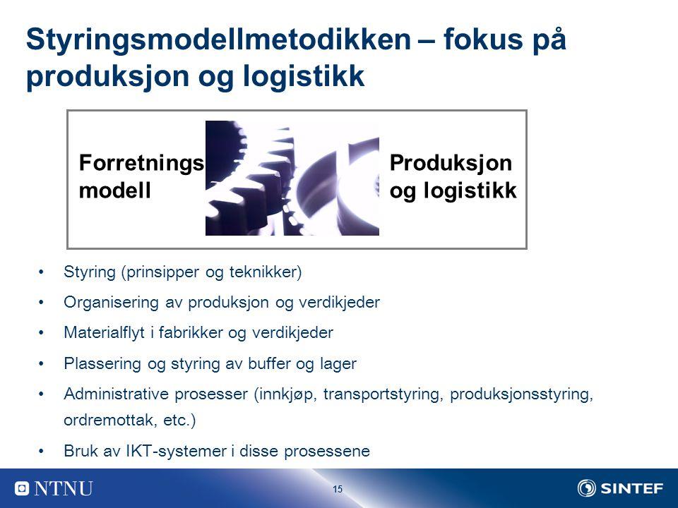 Styringsmodellmetodikken – fokus på produksjon og logistikk