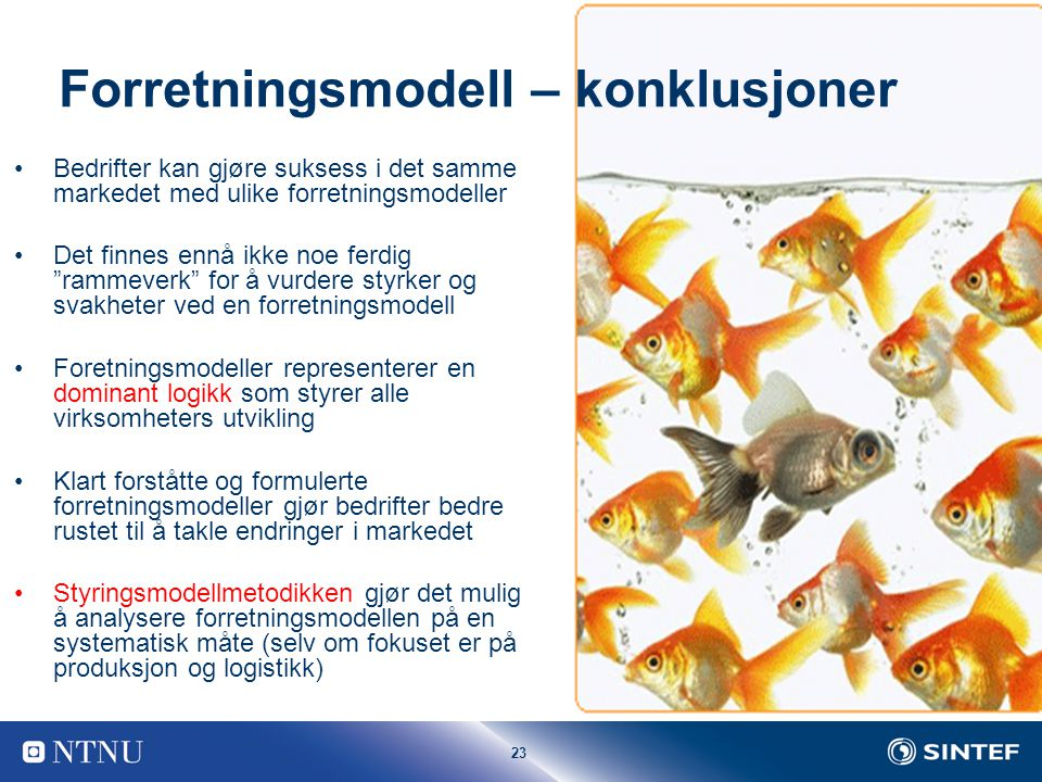 Forretningsmodell – konklusjoner
