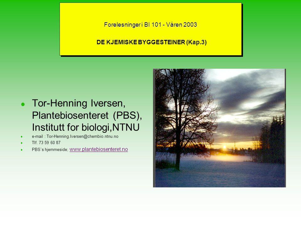 Forelesninger i BI 101 - Våren 2003 DE KJEMISKE BYGGESTEINER (Kap.3)