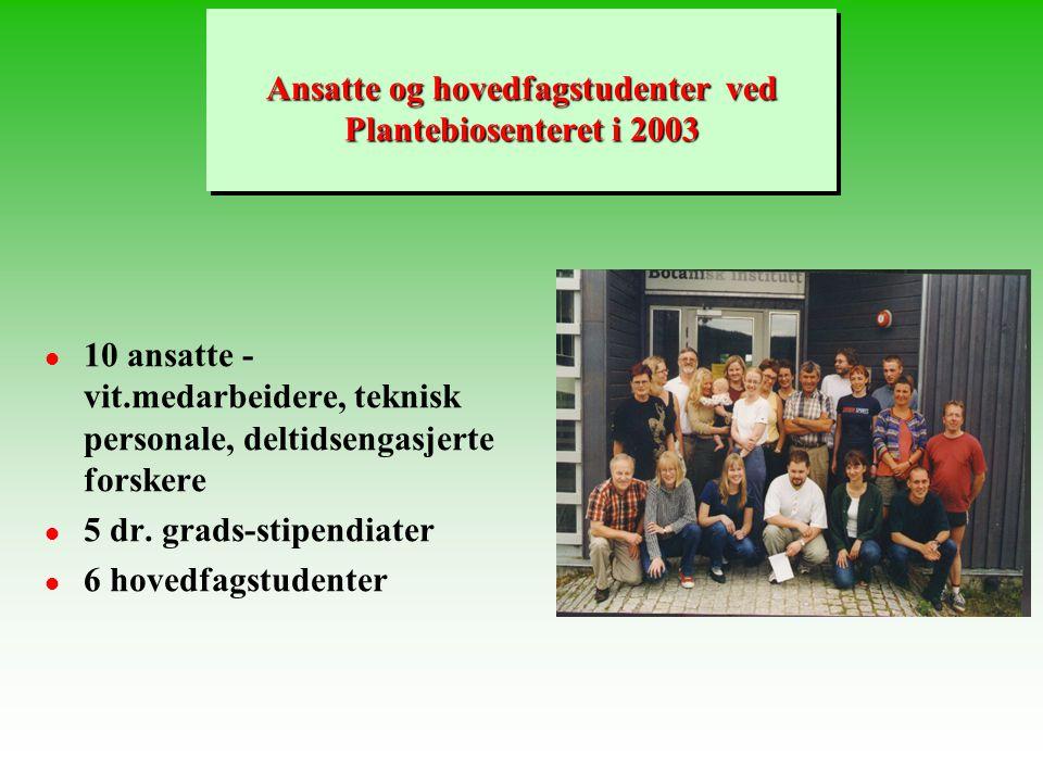Ansatte og hovedfagstudenter ved Plantebiosenteret i 2003