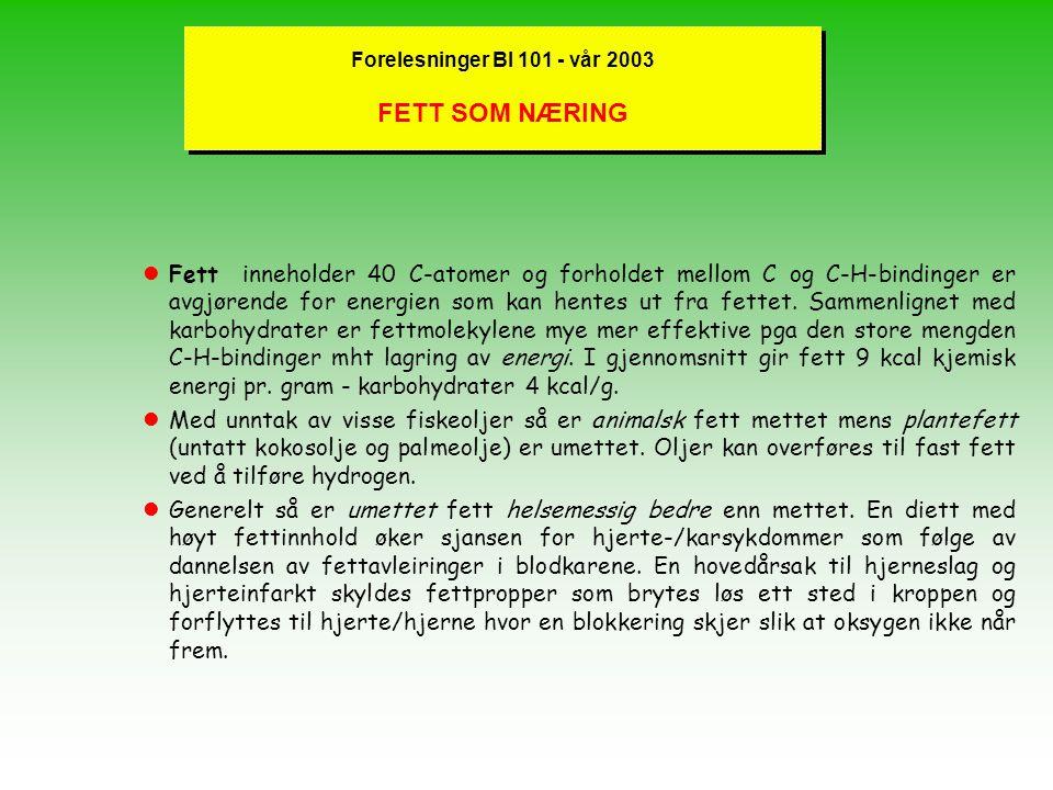 Forelesninger BI 101 - vår 2003 FETT SOM NÆRING